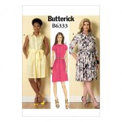 Butterick Ladies Easy Sewing Pattern 6333 Shirt Dresses & Sash