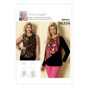 Butterick Ladies Easy Sewing Pattern 6334 Sleeveless & Flounce Overlay Tops