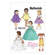 Butterick Crafts Sewing Pattern 6336 Retro Doll Clothes