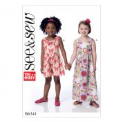 Butterick See & Sew Girls Easy Sewing Pattern 6341 Sleeveless Dress & Romper