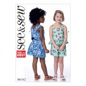 Butterick See & Sew Girls Easy Sewing Pattern 6342 Criss Cross Back & Ruffle Hem Tops & Shorts