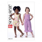 Butterick See & Sew Girls Easy Sewing Pattern 6343 Halter Romper & Jumpsuit