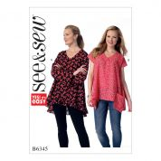 Butterick See & Sew Ladies Easy Sewing Pattern 6345 V Neck Tops with Pockets or Ruffle Hem