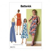 Butterick Ladies Easy Sewing Pattern 6351 Open Back, Tulip Detail Dresses & Jumpsuit