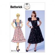 Butterick Ladies Easy Sewing Pattern 6352 Square Neckline, Puff Sleeve Dresses & Belt