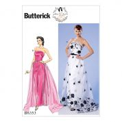Butterick Ladies Sewing Pattern 6353 Strapless Dress, Detachable Train & Belt