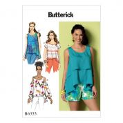 Butterick Ladies Easy Sewing Pattern 6355 Overlay, Cold Shoulder & Notch Neck Tops