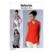 Butterick Ladies Easy Sewing Pattern 6357 Sleeveless Wrap Tops with Shawl Collar