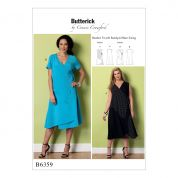 Butterick Ladies Sewing Pattern 6359 Wrap Dresses with Overlays