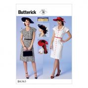Butterick Ladies Sewing Pattern 6363 Button Front, Flutter Sleeve Dresses & Sun Hat