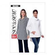 Butterick See & Sew Ladies Easy Sewing Pattern 6366 Asymmetrical Collar & Turtleneck Tunic Tops
