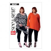 Butterick See & Sew Ladies Plus Size Easy Sewing Pattern 6367 Scoopneck & V Neck Tunic Tops