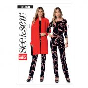 Butterick See & Sew Ladies Easy Sewing Pattern 6368 Banded Cardigan, Top, Belt & Tapered Pants