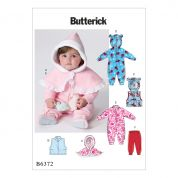 Butterick Baby Easy Sewing Pattern 6372 Cape, Waistcoat, All In Ones & Pants