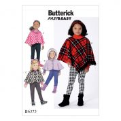 Butterick Girls Easy Sewing Pattern 6373 Capes & Ponchos