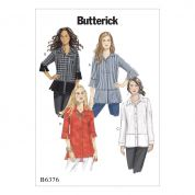 Butterick Ladies Easy Sewing Pattern 6376 Button Down Shirts with Side Slits
