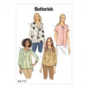 Butterick Ladies Easy Sewing Pattern 6378 Gathered Blouse Tops & Tunics with Neck Ties