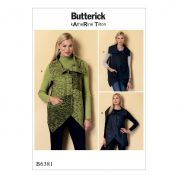 Butterick Ladies Sewing Pattern 6381 Collared Waistcoats with Asymmetrical Hems