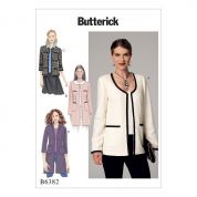 Butterick Ladies Easy Sewing Pattern 6382 Open Front Lined Jackets with Patch Pockets
