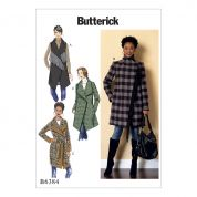 Butterick Ladies Easy Sewing Pattern 6384 Shawl Collar Coat, Waistcoat & Belt