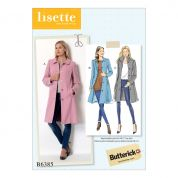 Butterick Ladies Sewing Pattern 6385 Funnel Neck, Peter Pan or Pointed Collar Coats