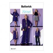 Butterick Ladies Easy Sewing Pattern 6387 Draped Collar Jacket, Sleeveless Dress & Pants Suit