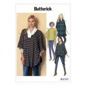 Butterick Ladies Easy Sewing Pattern 6391 Shawl Collar, Bateau & V Neck Ponchos