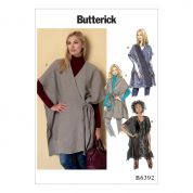 Butterick Ladies Easy Sewing Pattern 6392 Banded or Collared Wraps