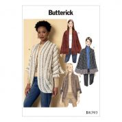 Butterick Ladies Easy Sewing Pattern 6393 Ruffled Jersey Knit Wraps