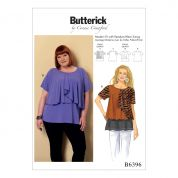 Butterick Ladies Plus Size Sewing Pattern 6396 Asymmetical Overlay Jersey Knit Tops