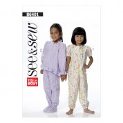 Butterick See & Sew Girls Easy Sewing Pattern 6401 Pyjama Top, Pants & Jumpsuit