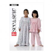 Butterick See & Sew Girls Easy Sewing Pattern 6402 Pyjama Top, Pants & Gown