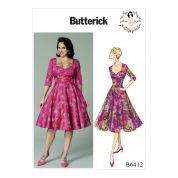 Butterick Ladies Easy Sewing Pattern 6412 Sweetheart Neckline Full Skirted Dress