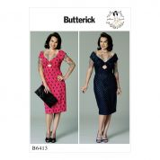 Butterick Ladies Easy Sewing Pattern 6413 Gathered Front Keyhole Dress