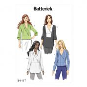 Butterick Ladies Easy Sewing Pattern 6417 Surplice Loose Fit Paneled Tops