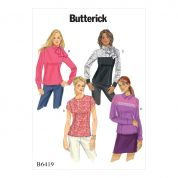 Butterick Ladies Easy Sewing Pattern 6419 Button Back Blouses