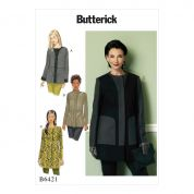 Butterick Ladies Sewing Pattern 6421 Stand Collar & Collarless Paneled Coats