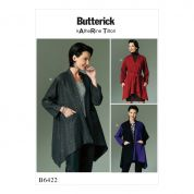 Butterick Ladies Sewing Pattern 6422 Asymmetical Hem Jackets with Pockets