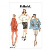 Butterick Ladies Easy Sewing Pattern 6424 Ponchos, Sleeveless Top & Pull On Skirt & Pants