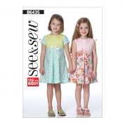 Butterick See & Sew Girls Easy Sewing Pattern 6435 Pleated Skirt Dresses