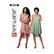 Butterick See & Sew Ladies Easy Sewing Pattern 6436 Asymmetrical Hem Tent Dresses