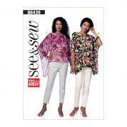 Butterick See & Sew Ladies Easy Sewing Pattern 6439 Overlay & Notch Neck Tunic Tops