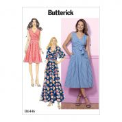 Butterick Ladies Easy Sewing Pattern 6446 Pleated Wrap Dresses with Sash