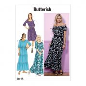 Butterick Ladies Easy Sewing Pattern 6451 Gathered Blouson Dresses