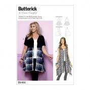 Butterick Ladies Easy Plus Size Sewing Pattern 6466 Open Front Flared Tunic Tops