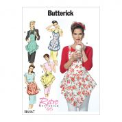 Butterick Ladies Easy Sewing Pattern 6467 1946 Vintage Style Ruffled Aprons