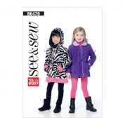 Butterick See & Sew Girls Easy Sewing Pattern 6470 Elastic Waist Jackets with Collar or Hood