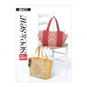 Butterick See & Sew Accessories Easy Sewing Pattern 6477 Lined Tote Bags with Zipper