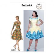 Butterick Ladies Sewing Pattern 6484 Square Neck, Dropped Waist Dresses & Petticoat Ruffle