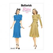 Butterick Ladies Sewing Pattern 6485 1944 Vintage Style Dresses with Waist Tie